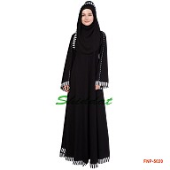 Umbrella  Abaya - Black color with printed Border