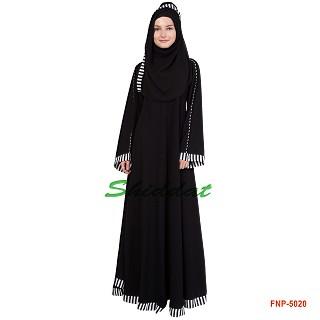 Umbrella  Abaya - Black color with printed Border