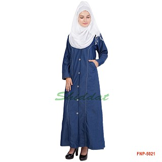 Simple Denim Abaya - Blue Colored