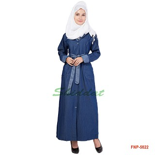 Front open denim Abaya with belt