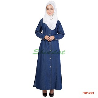 Front open denim Abaya- blue