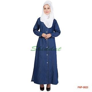 Front open denim Abaya- blue