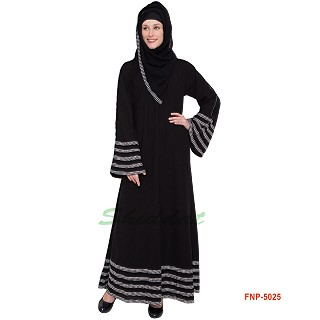 Black abaya with 5 line printed Border