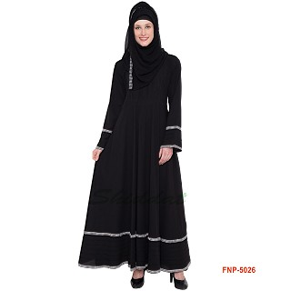Umbrella abaya- Black with Printed Border