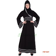 Black abaya with 3 line printed border