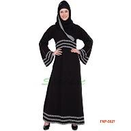 Black abaya with 3 line printed border