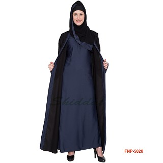 Double layered Abaya- Black  Dark Grey