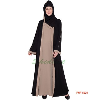 Front open Double layered Abaya- Black and Beige