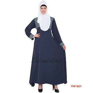Simple Blue Abaya- Nida Fabric