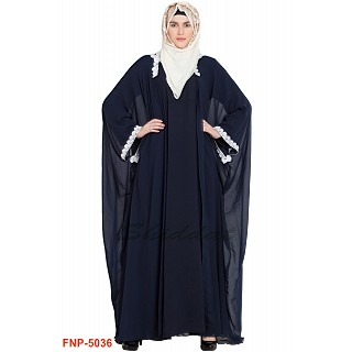 Double layered Kaftan abaya with lacework- Navy Blue