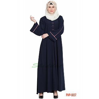 Simple flared abaya- Navy Blue
