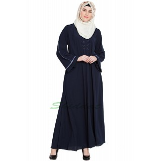 Full Flared abaya- Navy Blue