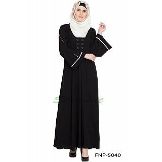 Simple flared abaya- Black