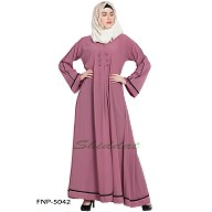 Simple flared abaya- Puce Pink