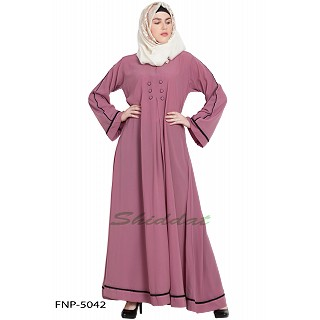 Simple flared abaya- Puce Pink