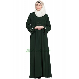 Simple flared abaya- Dark Green