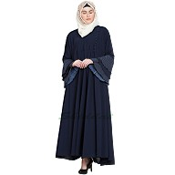 Umbrella abaya with Bell Sleeves- Navy Blue