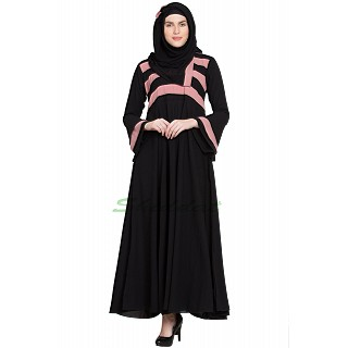 Umbrella abaya with Peach Strip on Top