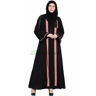 Double layered Black abaya with Pink border