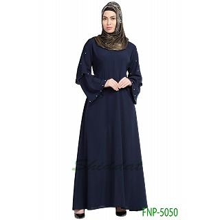 A-line casual abaya- Navy Blue