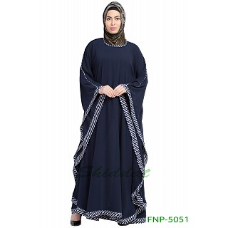 Kaftan abaya with printed border- Navy Blue