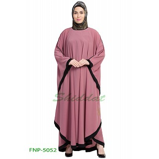 Kaftan abaya with Black border- Puce Pink