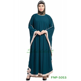 Kaftan abaya with Beige border- Teal Green