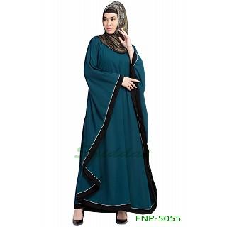 Kaftan abaya with Black border- Teal Green