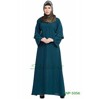 A-line casual abaya- Teal Green