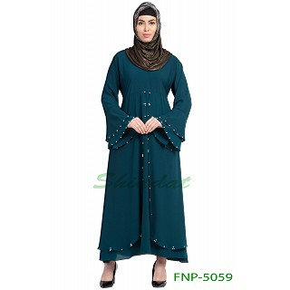 Layered designer abaya with pearlwork- Midnight Blue