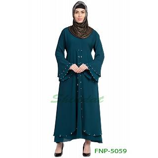 Layered designer abaya with pearlwork- Teal Green