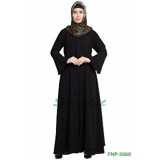 Layered designer abaya with pearlwork- Black
