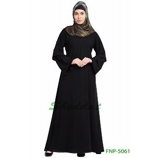 A-line casual abaya- Black