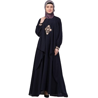 Embroidered Shrug abaya- Navy Blue