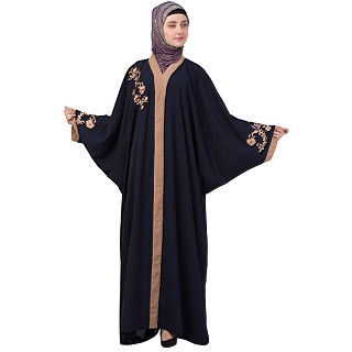 Afghani embroidered Kaftan abaya- Navy Blue