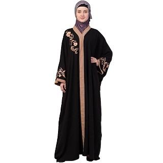 Afghani embroidered Kaftan abaya- Black