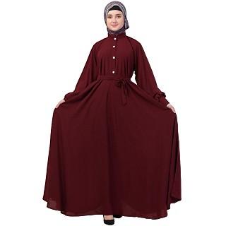 Umbrella abaya with cuff sleeves- Maroon