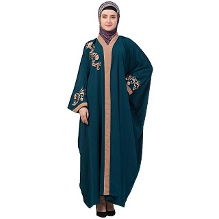 Afghani embroidered Kaftan abaya- Teal Green