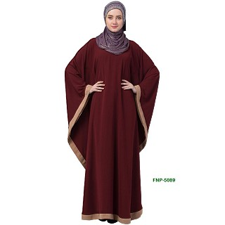 Kaftan abaya with Beige border- Maroon