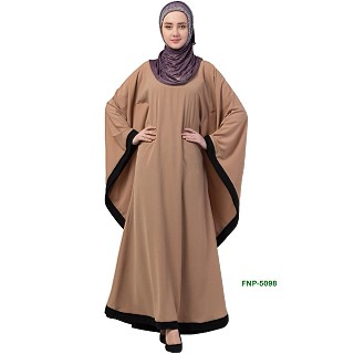 Kaftan abaya with Black border- Beige