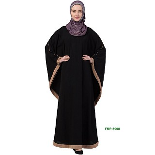 Kaftan abaya with Beige border- Black