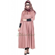 Button Sleeve with black cuff  Abaya - Fabric Crepe