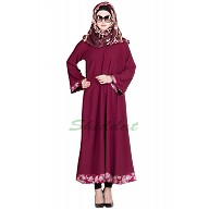 Printed simple everyday Abaya- Maroon Color