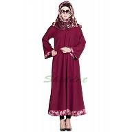 Printed simple everyday Abaya- Maroon Color