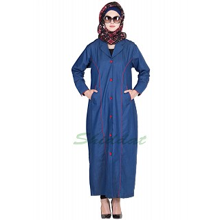 Simple Denim Blue Colored Abaya
