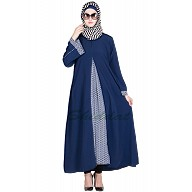 Classic blue Abaya with printed panel