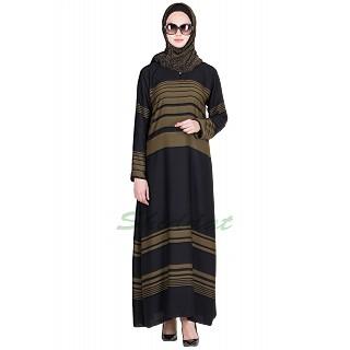 Elegant black colored olive strip Abaya