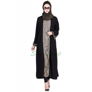 Classic Black Colored abaya with printed panel