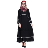 Sophisticated Layered Black Abaya with Printed Border