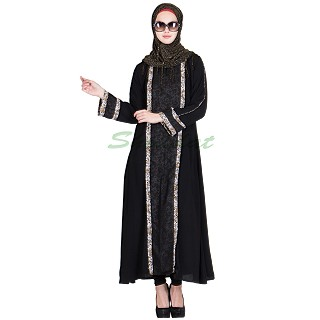 Burqa- Front Panel Black Strip